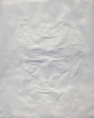 """Portrait Samuel Beckett (2)"" by Simon Schubert, 2015. Folded Paper, 58.50 x 47 inches. Courtesy Foley Gallery."
