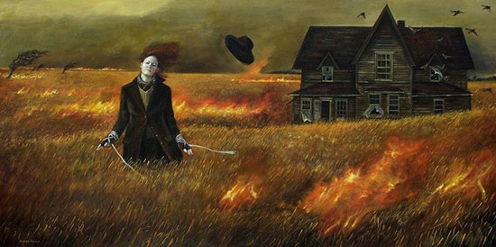 """No Turning Back"" by Andrea Kowch, 2008. Acrylic on canvas, 24 × 48 inches. Courtesy Curiator.com via pinterest."