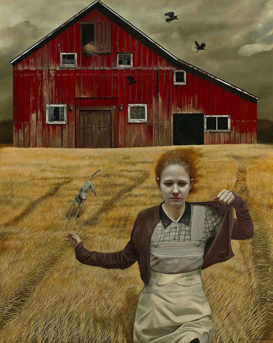 """Dream Chaser"" by Andrea Kowch, 2013. Acrylic on canvas, 60 × 48 inches. Courtesy of RJD Gallery."