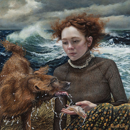 """Fetch"" by Andrea Kowch, 2017. Acrylic on canvas, 10 x 10 inches. Courtesy of RJD Gallery."