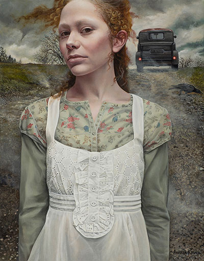 """Gust"" by Andrea Kowch, 2016. Acrylic on canvas, 18 x 14 inches. Courtesy of RJD Gallery."