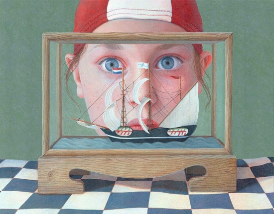 """Little Boat"" by Jantina Peperkamp. Acrylic on Wood Panel, 7.9 x 9.8 inches. Courtesy RJD Gallery."